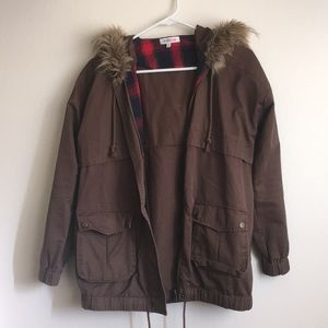 Faux fur lined hooded brown jacket w/ adj. waist